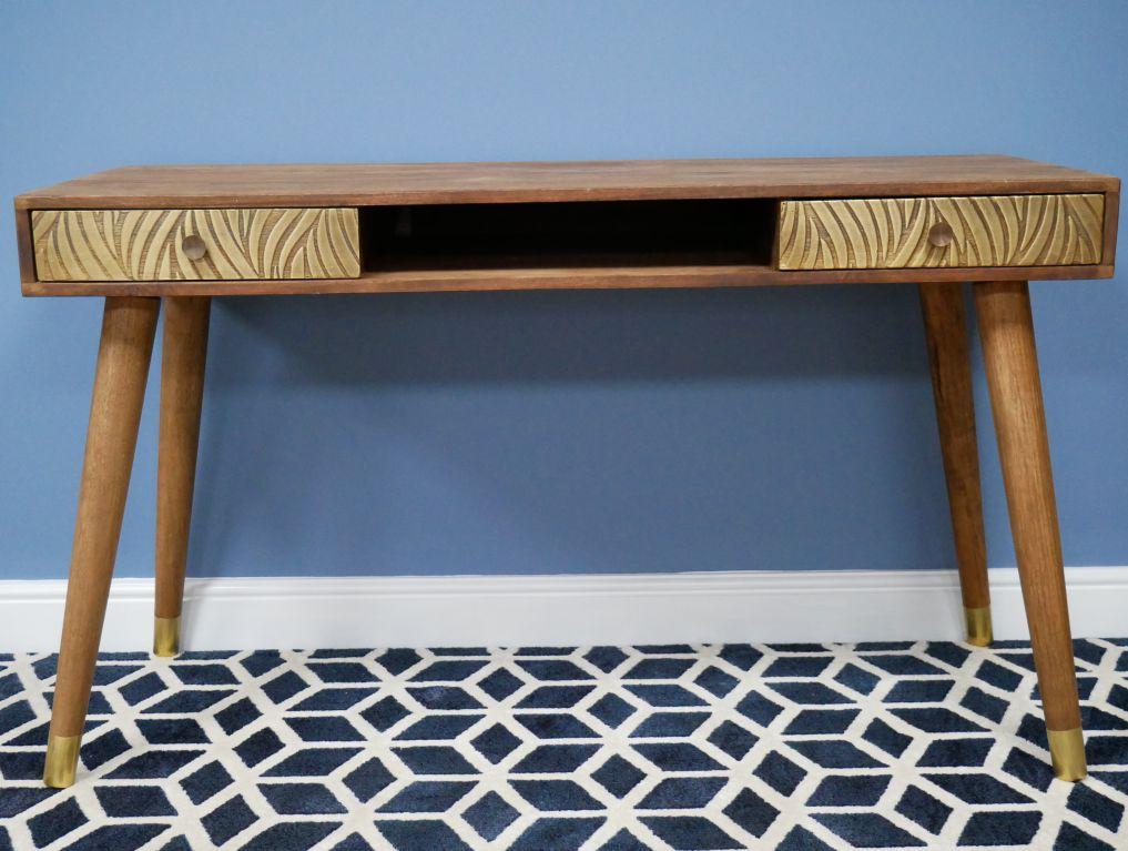 Mango Wood Desk With Brass Cladding, Mango Wood Desk